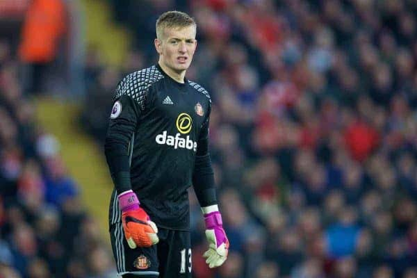 LIVERPOOL, ENGLAND - Saturday, November 26, 2016: Sunderland's goalkeeper Jordan Pickford in action against Liverpool during the FA Premier League match at Anfield. (Pic by David Rawcliffe/Propaganda)