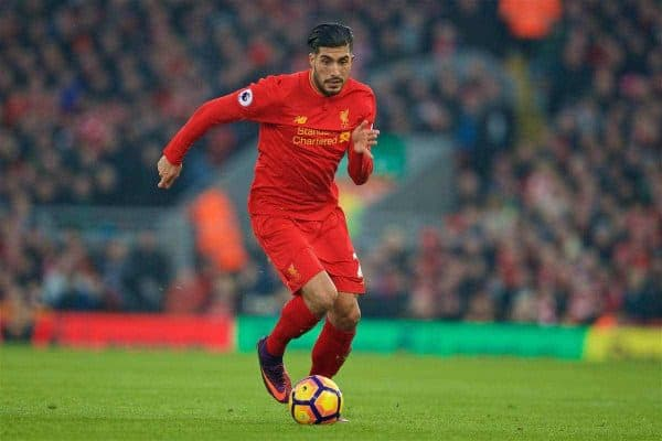 LIVERPOOL, ENGLAND - Saturday, November 26, 2016: Liverpool's Emre Can in action against Sunderland during the FA Premier League match at Anfield. (Pic by David Rawcliffe/Propaganda)