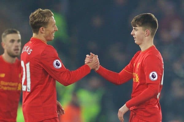 LIVERPOOL, ENGLAND - Saturday, November 26, 2016: Liverpool's Welsh youngster Ben Woodburn is congratulated by Lucas Leiva after making his debut against Sunderland during the FA Premier League match at Anfield. (Pic by David Rawcliffe/Propaganda)