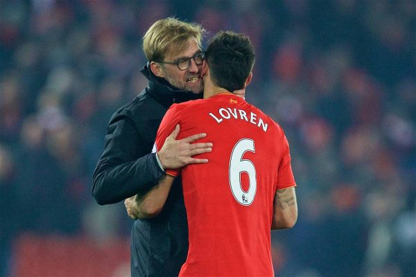 Liverpool's manager Jürgen Klopp and Dejan Lovren after the 2-0 victory over Sunderland during the FA Premier League match at Anfield. (Pic by David Rawcliffe/Propaganda)