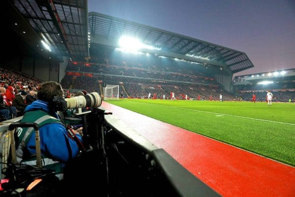 LIVERPOOL, ENGLAND - Saturday, November 26, 2016: A view from the photographer's position during the FA Premier League match between Liverpool and Sunderland at Anfield. (Pic by David Rawcliffe/Propaganda)
