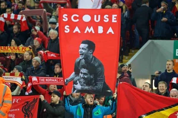 "LIVERPOOL, ENGLAND - Tuesday, November 29, 2016: Liverpool supporters' banner ""Scouse Samba"" featuring Philippe Coutinho Correia and Roberto Firmino during the Football League Cup Quarter-Final match against Leeds United at Anfield. (Pic by David Rawcliffe/Propaganda)"