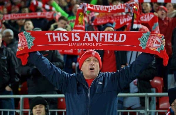 "LIVERPOOL, ENGLAND - Tuesday, November 29, 2016: A Liverpool supporter with a ""This is Anfield"" scarf during the Football League Cup Quarter-Final match against Leeds United at Anfield. (Pic by David Rawcliffe/Propaganda)"