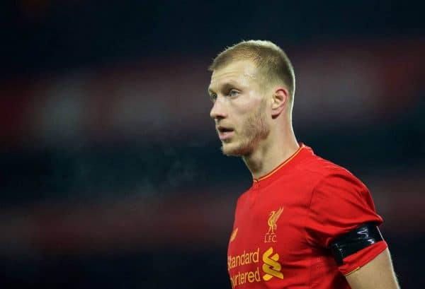 LIVERPOOL, ENGLAND - Tuesday, November 29, 2016: Liverpool's Ragnar Klavan in action against Leeds United during the Football League Cup Quarter-Final match at Anfield. (Pic by David Rawcliffe/Propaganda)