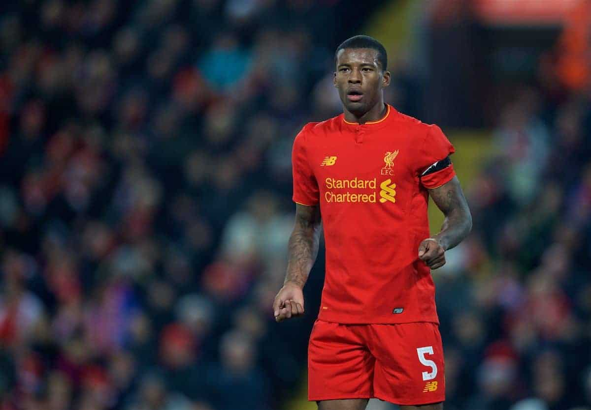 LIVERPOOL, ENGLAND - Tuesday, November 29, 2016: Liverpool's Georginio Wijnaldum in action against Leeds United during the Football League Cup Quarter-Final match at Anfield. (Pic by David Rawcliffe/Propaganda)