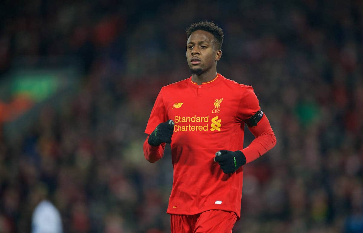 LIVERPOOL, ENGLAND - Tuesday, November 29, 2016: Liverpool's Divock Origi in action against Leeds United during the Football League Cup Quarter-Final match at Anfield. (Pic by David Rawcliffe/Propaganda)