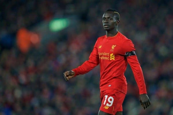 LIVERPOOL, ENGLAND - Tuesday, November 29, 2016: Liverpool's Sadio Mane in action against Leeds United during the Football League Cup Quarter-Final match at Anfield. (Pic by David Rawcliffe/Propaganda)