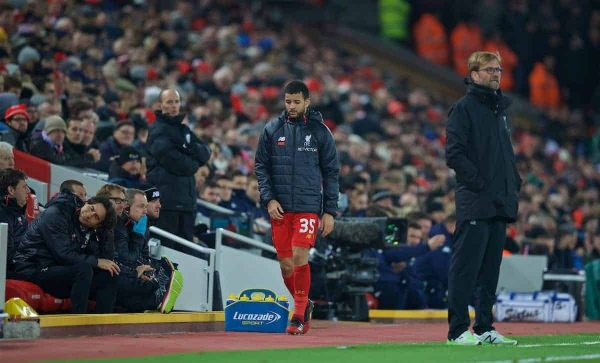 LIVERPOOL, ENGLAND - Tuesday, November 29, 2016: Liverpool's injured Kevin Stewart returns to the bench after treatment during the Football League Cup Quarter-Final match against Leeds United at Anfield. (Pic by David Rawcliffe/Propaganda)