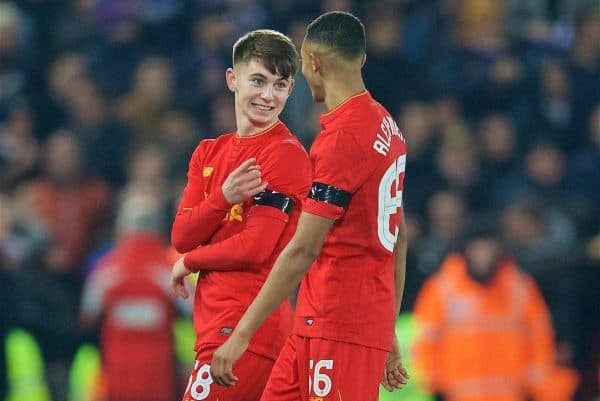 LIVERPOOL, ENGLAND - Tuesday, November 29, 2016: Liverpool's goal-scorer Ben Woodburn and Trent Alexander-Arnold after the 2-0 victory over Leeds United during the Football League Cup Quarter-Final match at Anfield. (Pic by David Rawcliffe/Propaganda)