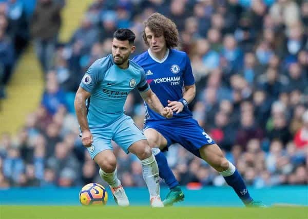 MANCHESTER, ENGLAND - Saturday, December 3, 2016: Manchester City's Sergio Aguero in action against David Luiz of Chelsea during the FA Premier League match at the City of Manchester Stadium. (Pic by Gavin Trafford/Propaganda)