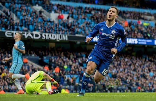 MANCHESTER, ENGLAND - Saturday, December 3, 2016: Chelsea's Eden Hazard celebrates scoring the third goal against Manchester City during the FA Premier League match at the City of Manchester Stadium. (Pic by Gavin Trafford/Propaganda)