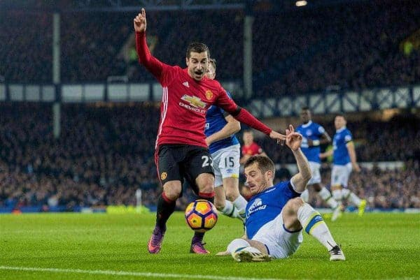 LIVERPOOL, ENGLAND - Sunday, December 4, 2016: Everton's Leighton Baines in action against Henrik Mkhitaryan of Manchester United during the FA Premier League match at Goodison Park. (Pic by Gavin Trafford/Propaganda)