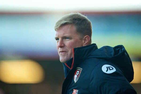 AFC Bournemouth's manager Eddie Howe during the FA Premier League match against Liverpool at Dean Court. (Pic by David Rawcliffe/Propaganda)