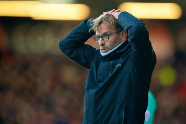 Liverpool's manager Jürgen Klopp looks dejected during the FA Premier League match against AFC Bournemouth at Dean Court. (Pic by David Rawcliffe/Propaganda)