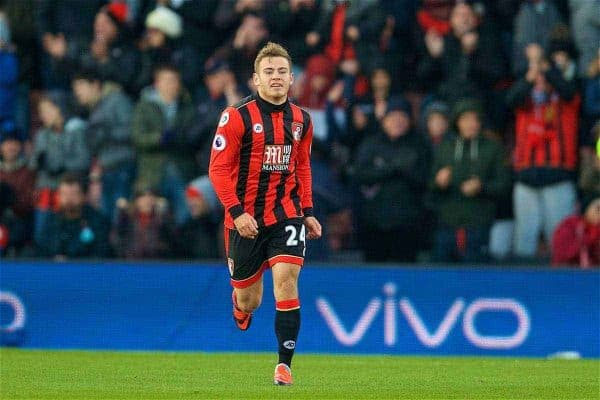BOURNEMOUTH, ENGLAND - Sunday, December 4, 2016: AFC Bournemouth's Ryan Fraser celebrates scoring the second goal against Liverpool during the FA Premier League match at Dean Court. (Pic by David Rawcliffe/Propaganda)