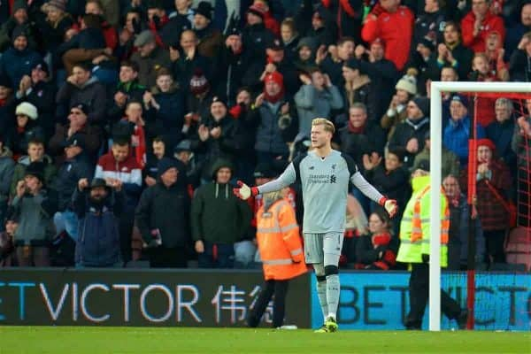 BOURNEMOUTH, ENGLAND - Sunday, December 4, 2016: Liverpool's goalkeeper Loris Karius looks dejected as AFC Bournemouth score an equalising goal to level the score at 3-3 during the FA Premier League match at Dean Court. (Pic by David Rawcliffe/Propaganda)