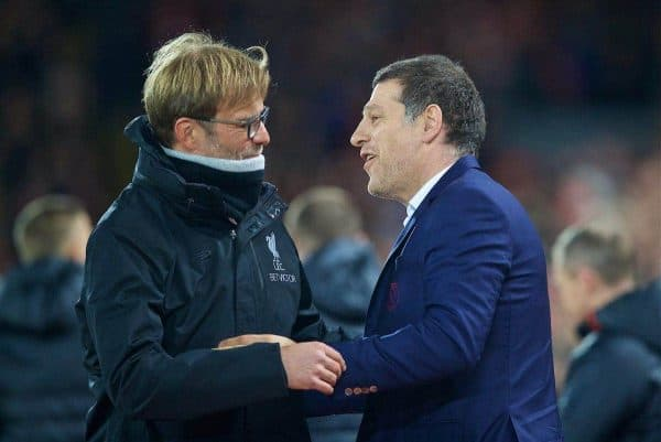 LIVERPOOL, ENGLAND - Sunday, December 11, 2016: Liverpool's manager Jürgen Klopp and West Ham United's manager Slaven Bilic embrace before the FA Premier League match against at Anfield. (Pic by David Rawcliffe/Propaganda)