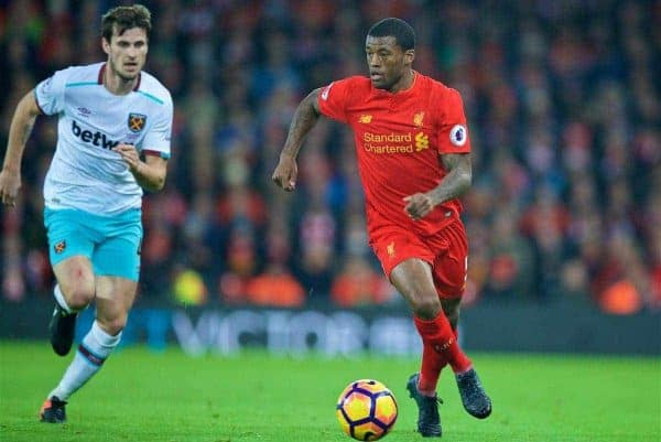 LIVERPOOL, ENGLAND - Sunday, December 11, 2016: Liverpool's Georginio Wijnaldum in action against West Ham United during the FA Premier League match at Anfield. (Pic by David Rawcliffe/Propaganda)