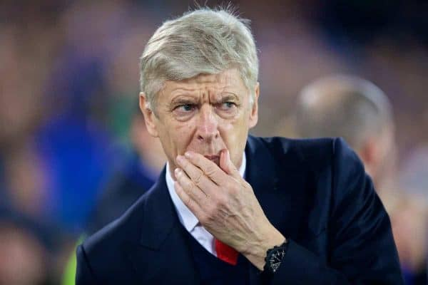 LIVERPOOL, ENGLAND - Tuesday, December 13, 2016: Arsenal's manager Arsene Wenger before the FA Premier League match against Everton at Goodison Park. (Pic by David Rawcliffe/Propaganda)