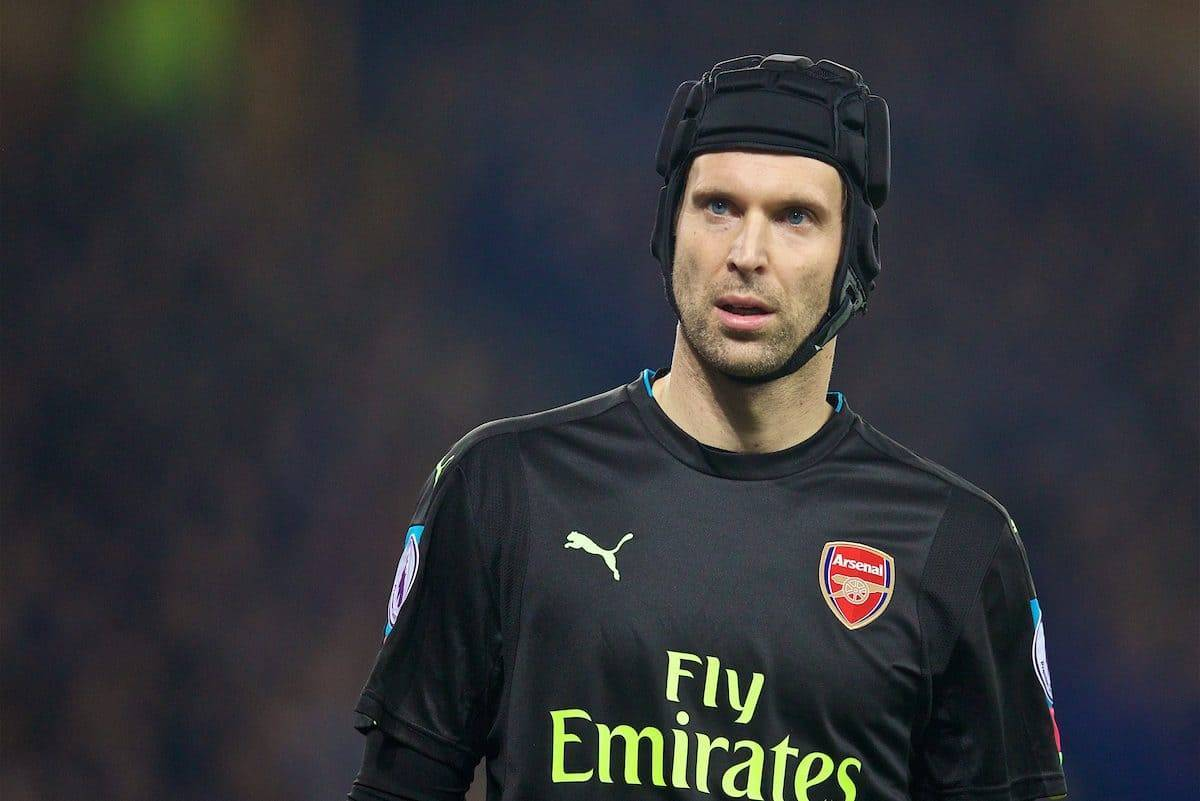 LIVERPOOL, ENGLAND - Tuesday, December 13, 2016: Arsenal's goalkeeper Petr Cech in action against Everton during the FA Premier League match at Goodison Park. (Pic by David Rawcliffe/Propaganda)