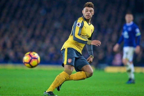 LIVERPOOL, ENGLAND - Tuesday, December 13, 2016: Arsenal's Alex Oxlade-Chamberlain in action against Everton during the FA Premier League match at Goodison Park. (Pic by David Rawcliffe/Propaganda)