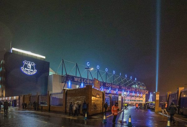 LIVERPOOL, ENGLAND - Tuesday, December 13, 2016: The rain falls before Everton's match against Arsenal in the FA Premier League match at Goodison Park. (Pic by Gavin Trafford/Propaganda)