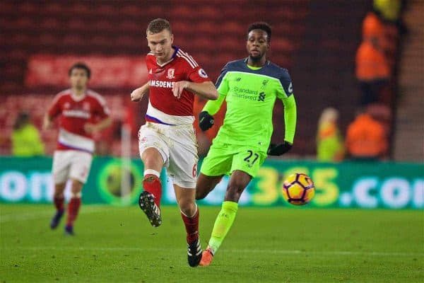 MIDDLESBROUGH, ENGLAND - Wednesday, December 14, 2016: Middlesbrough's Ben Gibson in action against Liverpool's Divock Origi during the FA Premier League match at the Riverside Stadium. (Pic by David Rawcliffe/Propaganda)