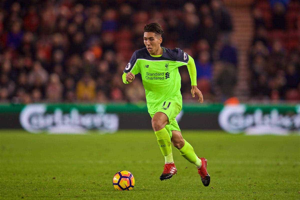 MIDDLESBROUGH, ENGLAND - Wednesday, December 14, 2016: Liverpool's Roberto Firmino in action against Middlesbrough during the FA Premier League match at the Riverside Stadium. (Pic by David Rawcliffe/Propaganda)