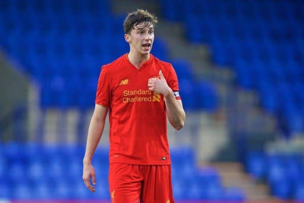 BIRKENHEAD, ENGLAND - Saturday, December 17, 2016: Liverpool's Conor Masterson in action against Crystal Palace during the FA Youth Cup 3rd Round match at Prenton Park. (Pic by David Rawcliffe/Propaganda)