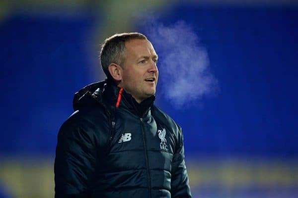 Liverpool's coach Neil Critchley during the FA Youth Cup 3rd Round match against Crystal Palace at Prenton Park. (Pic by David Rawcliffe/Propaganda)