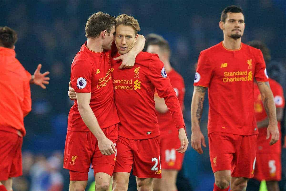 LIVERPOOL, ENGLAND - Monday, December 19, 2016: Liverpool's James Milner and Lucas Leiva celebrate after the 1-0 victory over Everton during the FA Premier League match, the 227th Merseyside Derby, at Goodison Park. (Pic by David Rawcliffe/Propaganda)