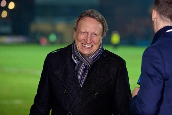 NEWPORT, WALES - Wednesday, December 21, 2016: Neil Warnock working for BT Sport as a pundit during the FA Cup 2nd Round Replay match between Newport County and Plymouth Argyle at Rodney Parade. (Pic by David Rawcliffe/Propaganda)