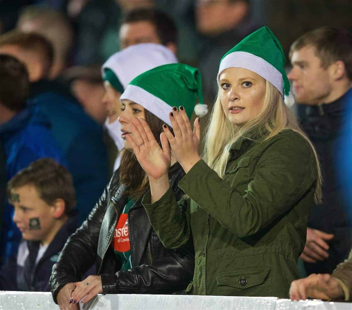 NEWPORT, WALES - Wednesday, December 21, 2016: Plymouth Argyle supporters during the FA Cup 2nd Round Replay match against Newport County at Rodney Parade. (Pic by David Rawcliffe/Propaganda)