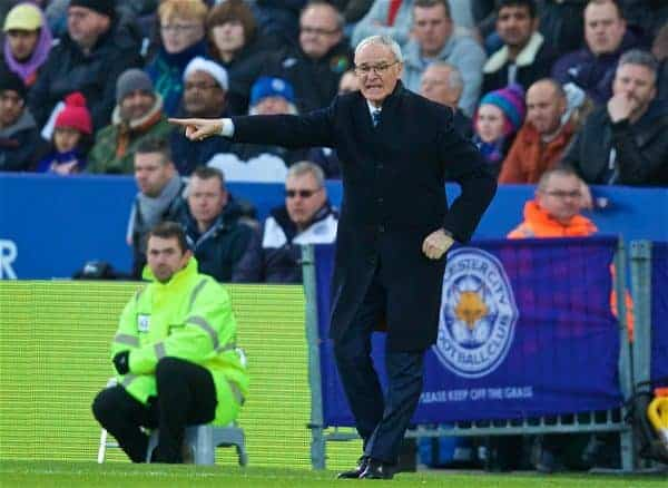 LEICESTER, ENGLAND - Boxing Day Monday, December 26, 2016: Leicester City's manager Claudio Ranieri during the FA Premier League match against Everton at Filbert Way. (Pic by David Rawcliffe/Propaganda)