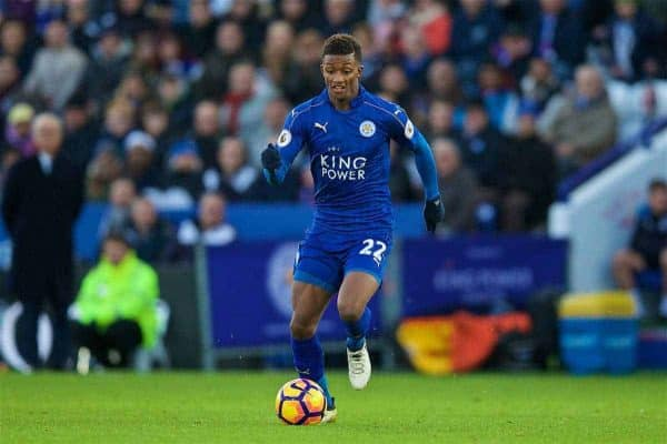 Leicester City's Demarai Gray in action against Everton during the FA Premier League match at Filbert Way. (Pic by David Rawcliffe/Propaganda)