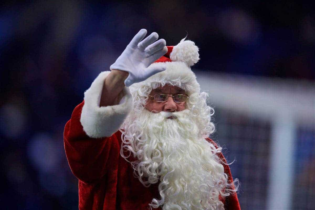 LEICESTER, ENGLAND - Boxing Day Monday, December 26, 2016: A man dressed as Father Christmas (Santa Clause, Saint Nicholas) during the FA Premier League match between Leicester City and Everton at Filbert Way. (Pic by David Rawcliffe/Propaganda)