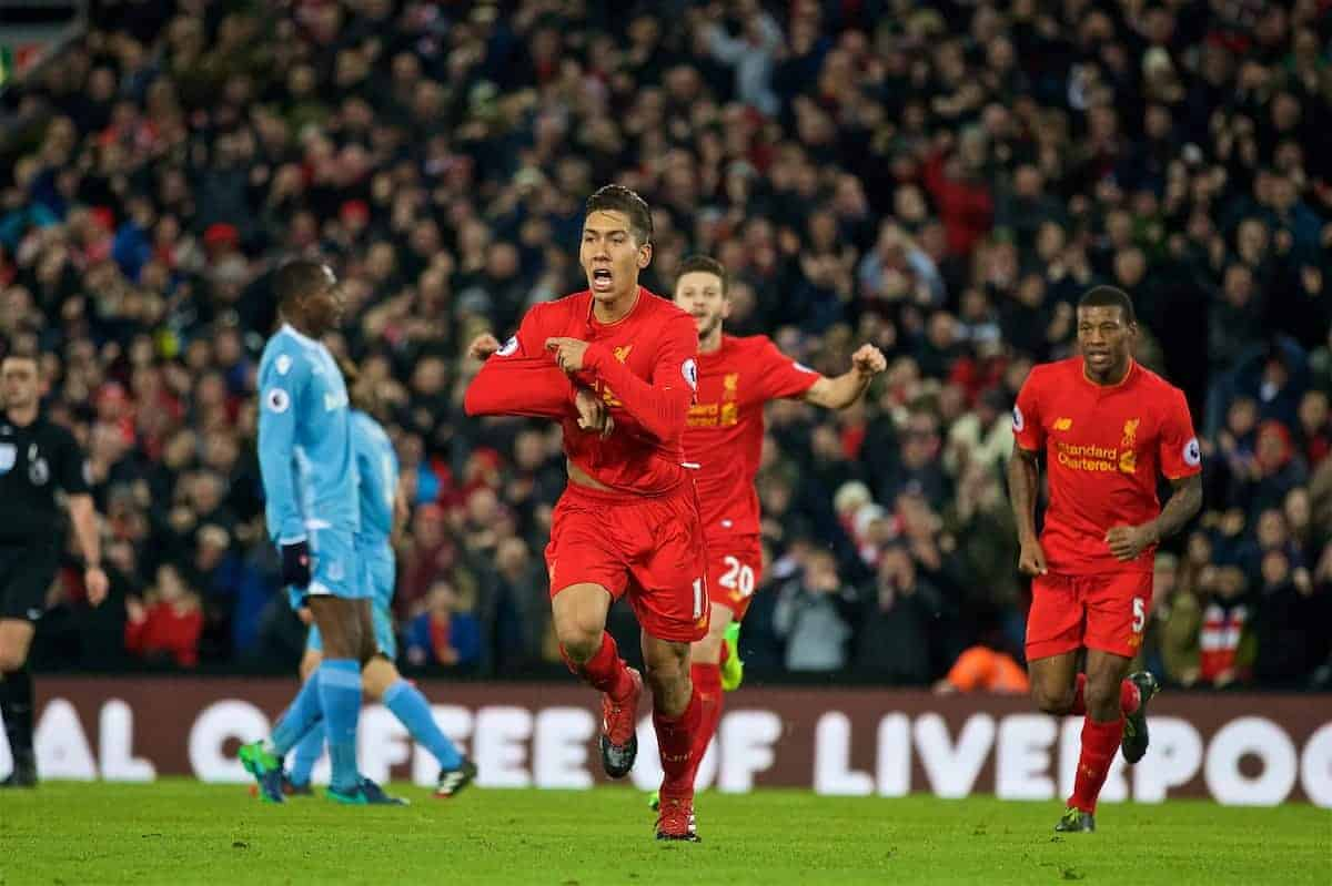 LIVERPOOL, ENGLAND - Tuesday, December 27, 2016: Liverpool's Roberto Firmino celebrates scoring the second goal against Stoke City during the FA Premier League match at Anfield. (Pic by David Rawcliffe/Propaganda)