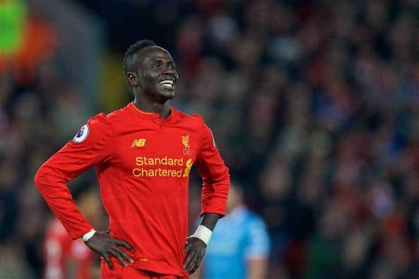 LIVERPOOL, ENGLAND - Tuesday, December 27, 2016: Liverpool's Sadio Mane celebrates scoring the third goal against Stoke City during the FA Premier League match at Anfield. (Pic by David Rawcliffe/Propaganda)