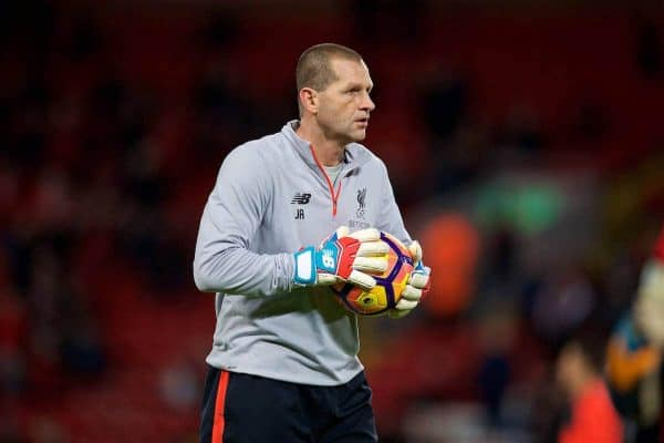 LIVERPOOL, ENGLAND - Saturday, December 31, 2016: Liverpool's goalkeeping coach John Achterberg warms-up before the FA Premier League match against Manchester City at Anfield. (Pic by David Rawcliffe/Propaganda)