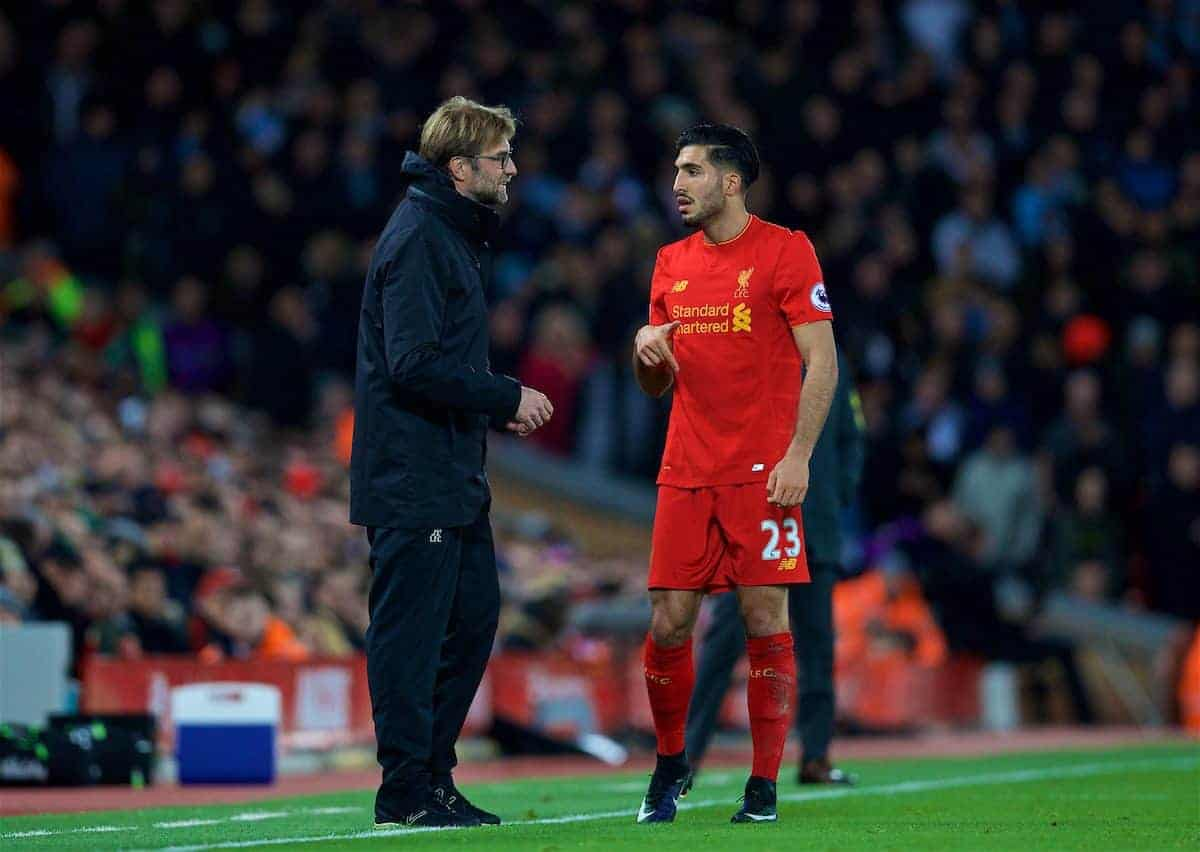 LIVERPOOL, ENGLAND - Saturday, December 31, 2016: Liverpool's manager Jürgen Klopp gives instructions to Emre Can during the FA Premier League match against Manchester City at Anfield. (Pic by David Rawcliffe/Propaganda)