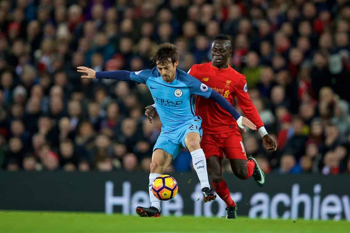LIVERPOOL, ENGLAND - Saturday, December 31, 2016: Liverpool's Sadio Mane in action against Manchester City's David Silva during the FA Premier League match at Anfield. (Pic by David Rawcliffe/Propaganda)