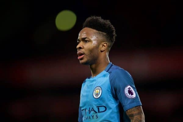 Manchester City's Raheem Sterling argues with the assistant referee during the FA Premier League match against Liverpool at Anfield. (Pic by David Rawcliffe/Propaganda)