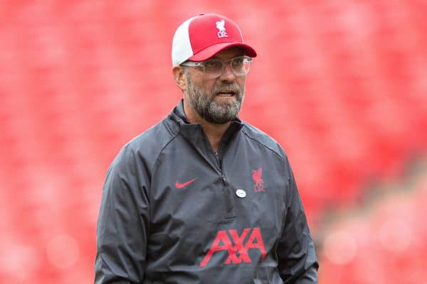 LONDON, ENGLAND - Saturday, August 29, 2020: Liverpool's manager Jürgen Klopp during the pre-match warm-up before the FA Community Shield match between FA Premier League Champions Liverpool FC and FA Cup Winners Arsenal FC. The game was played behind closed doors. (Credit: Chloe Knott/The FA)