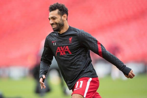 LONDON, ENGLAND - Saturday, August 29, 2020: Liverpool's Mohamed Salah during the pre-match warm-up before the FA Community Shield match between FA Premier League Champions Liverpool FC and FA Cup Winners Arsenal FC. The game was played behind closed doors. (Credit: Chloe Knott/The FA)