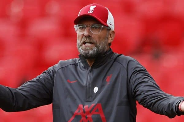 LONDON, ENGLAND - Saturday, August 29, 2020: Liverpool's manager Jürgen Klopp reacts during the FA Community Shield match between FA Premier League Champions Liverpool FC and FA Cup Winners Arsenal FC. The game was played behind closed doors. (Credit: Eddie Keogh/The FA)
