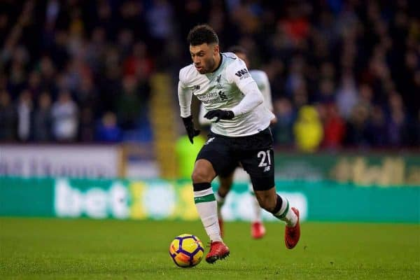 LIVERPOOL, ENGLAND - Saturday, December 30, 2017: Liverpool's Alex Oxlade-Chamberlain during the FA Premier League match between Liverpool and Leicester City at Anfield. (Pic by David Rawcliffe/Propaganda)