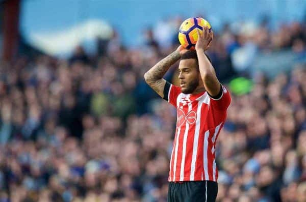 BURNLEY, ENGLAND - Saturday, January 14, 2017: Southampton's Ryan Bertrand takes a throw-in during the FA Premier League match against Burnley at Turf Moor. (Pic by David Rawcliffe/Propaganda)