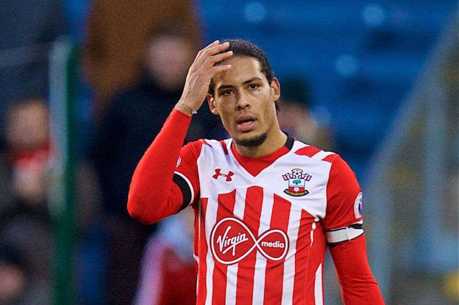 BURNLEY, ENGLAND - Saturday, January 14, 2017: Southampton's Virgil Van Dijk in action against Burnley during the FA Premier League match at Turf Moor. (Pic by David Rawcliffe/Propaganda)