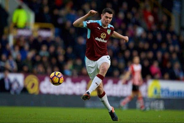 BURNLEY, ENGLAND - Saturday, January 14, 2017: Burnley's Michael Keane in action against Southampton during the FA Premier League match at Turf Moor. (Pic by David Rawcliffe/Propaganda)