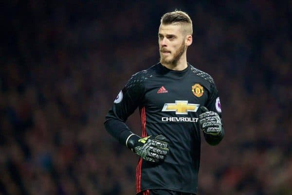 MANCHESTER, ENGLAND - Sunday, January 15, 2017: Manchester United's goalkeeper David de Gea in action against Liverpool during the FA Premier League match at Old Trafford. (Pic by David Rawcliffe/Propaganda)